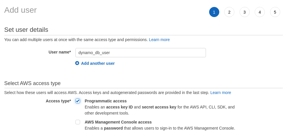 Add user with Programmatic Access