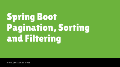 Spring Boot Pagination, Sorting and Filtering