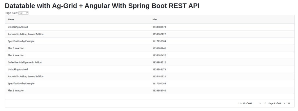 Datatable with Angular Ag-grid and Spring Boot REST API