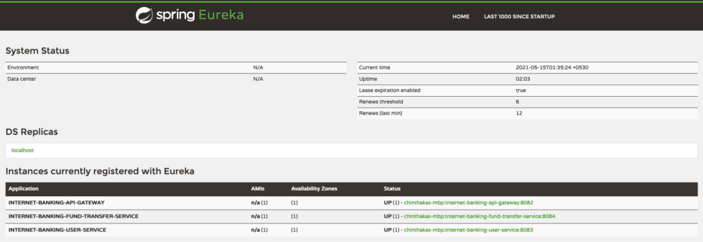 Spring Eureka Dashboard with All The Components Up and Running