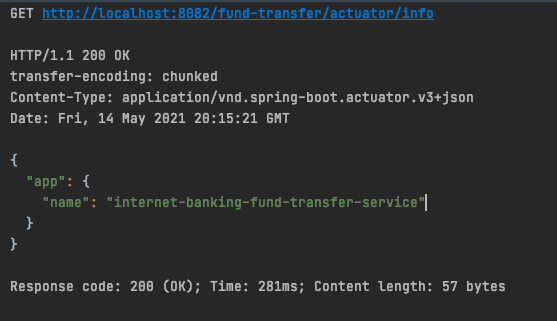 HTTP output from fund-transfer API call through Spring Cloud Gateway