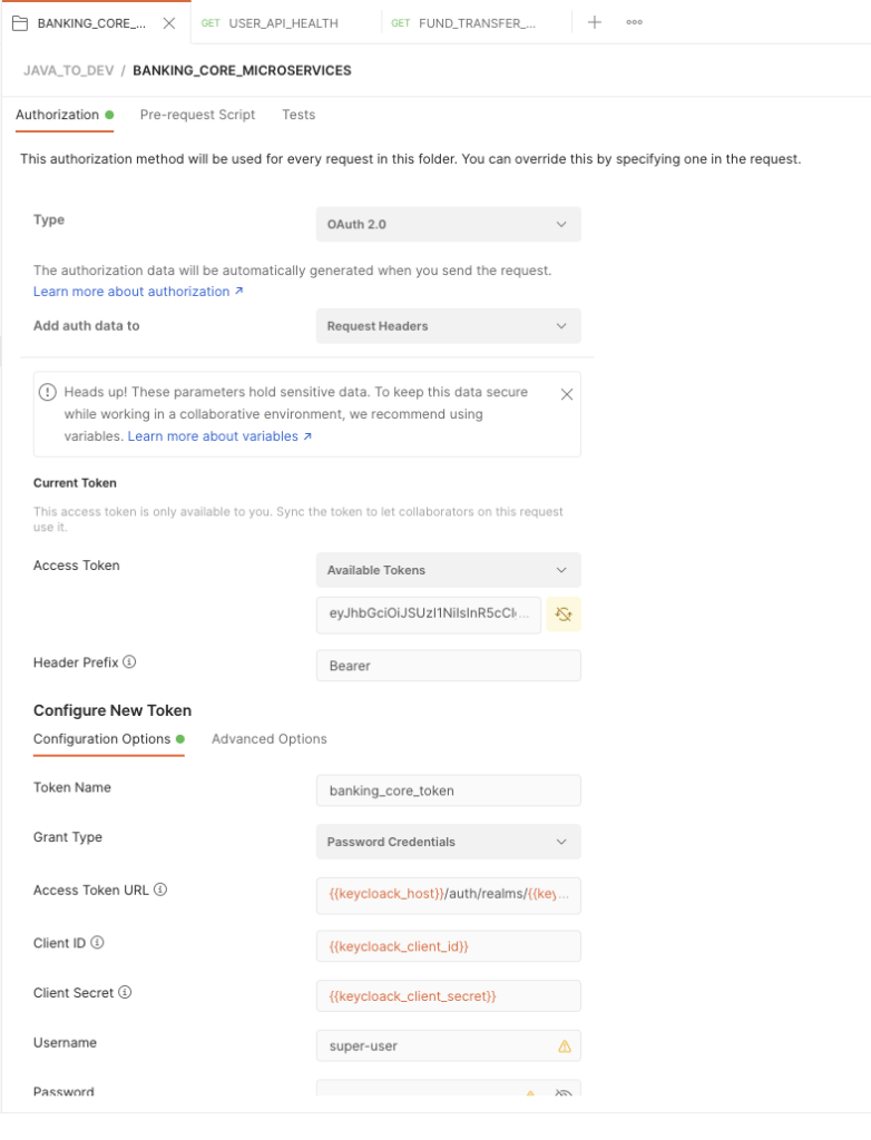 Generate authentication token with Postman from Keycloak